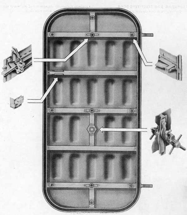 Fig. 3-inside view, Sliding Dog Lever Type Door, showing shell with main assemblies pulled out.