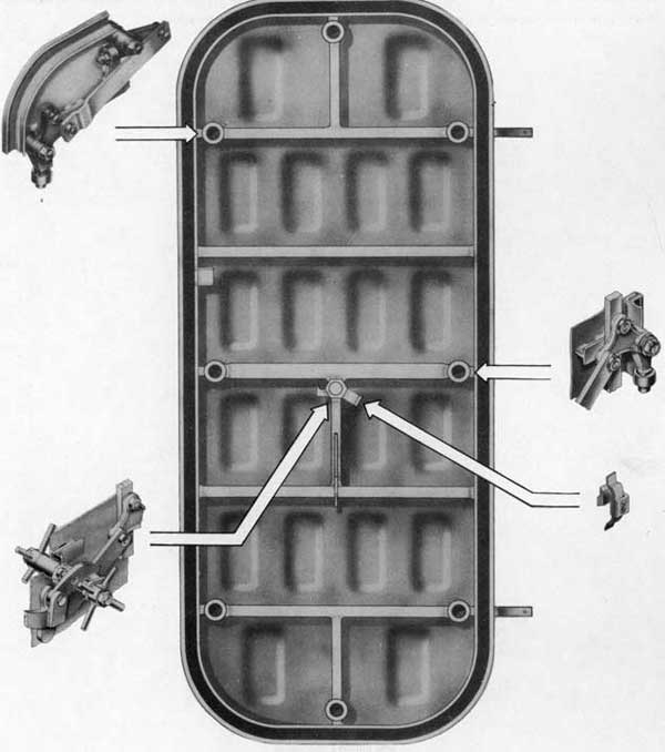Fig. 5-Inside view, Rotating Dog Lever Type Door, showing shell with main assemblies pulled out.