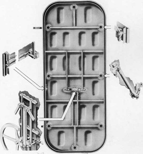 Fig. 7-Inside view, Rotating Dog Rack and Pinion Type Door, showing shell with main assemblies pulled out.