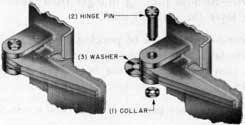 Fig. 11-Hinge, assembly and exploded views, conventional type hinge.