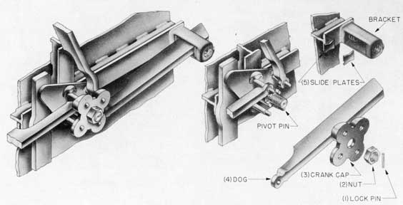Fig. 24-Dog, assembly and exploded views, Sliding Dog Lever Type Door.