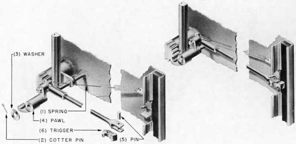Fig. 35-Interlock trigger, assembly and exploded views, Rotating Dog Rack and Pinion Type Door.