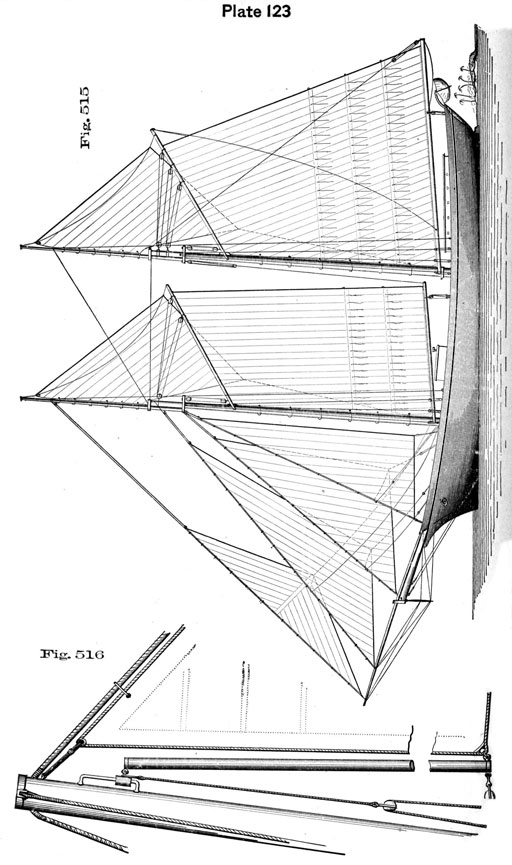 Plate 123, Fig 515-516.  Schooner with stayail boom detail.