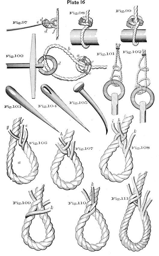 Plate 16, Fig 97-111, illustrations of knots.