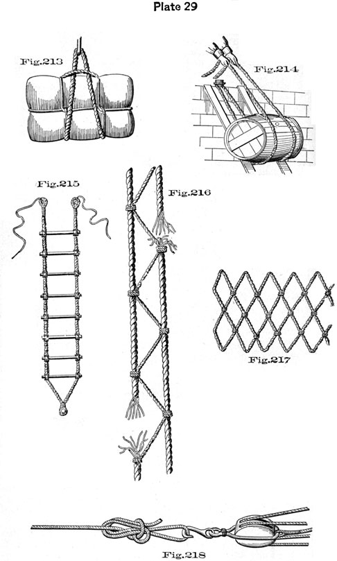 Plate 29, Fig 213-218, Ladders and slings.
