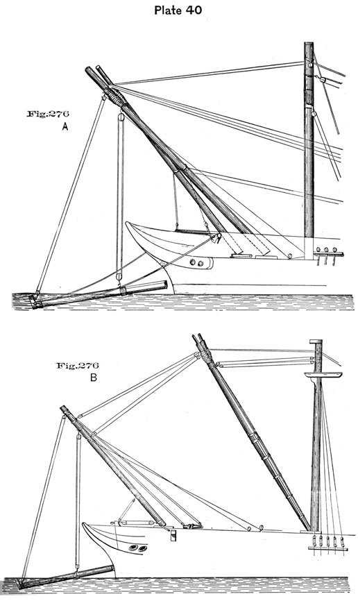 Plate 40, Fig 276. Methods of lifting spar from water.
