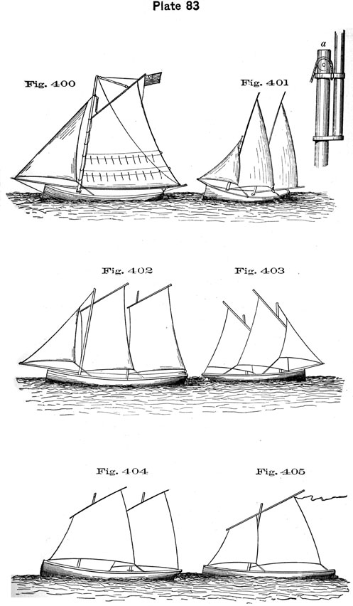 Plate 83, Fig 400-405. Various boat rigs.