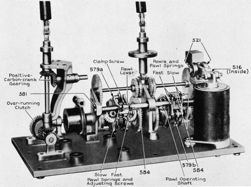 Fig. 6. View of Carbon-arc Lamp Mechanism (parts identified)