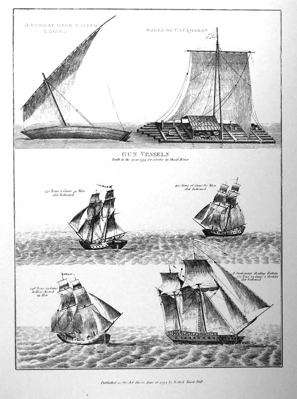 A bombay Bark Called a Dinga, Balsa or Catamaran<br /><br /> Gun Vessels<br /><br /> Built in the year 1794 for service in Shoal Water<br /><br /> 250 Tons, 2 guns, 50 Man, flat bottom<br /><br /> 400 Tons, 16 Guns, 80 Man, flat bottom<br /><br /> 146 Tons, 14 Guns, hollow floored, 29 Man<br /><br /> A stationary floating battery 700 tons, 24 guns, 2 Mortars flat bottom.