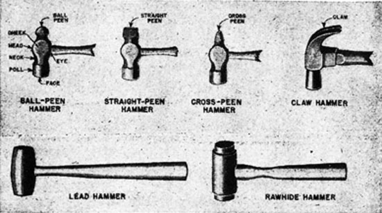 FIG. 1. TYPES OF HAMMERS. Ball-peen hammer, straight-peen hammer, cross-peen, claw hammer, lead hammer, rawhide hammer.