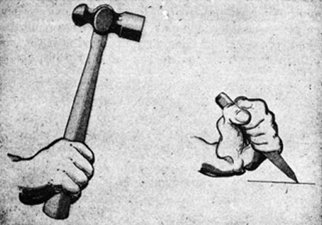 FIG. 2. How TO HOLD A HAMMER.