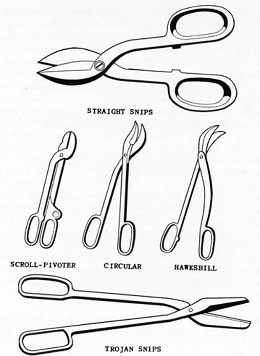 FIG. 10. SHEARS AND SNIPS. Straight, scroll-pivoter, cricular, hawksbill and trojan snips.
