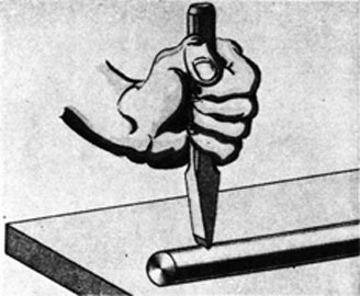 FIG. 34. CUTTING ROUND STOCK WITH COLD CHISEL.