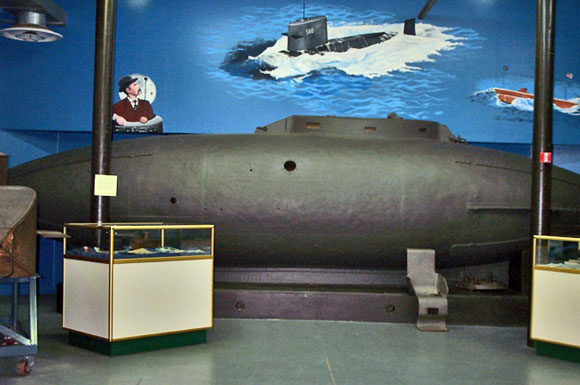 Photo of Fenian Ram submarine in the museum.