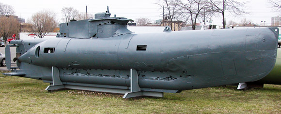 Seehund submarine from aft at the museum.