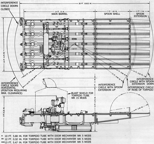 21 inch above water torpedo tubes op 764figure 4 torpedo tube dimensions and interference circles